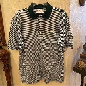 MASTERS Green Stripe Golf Polo Shirt Size Medium